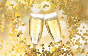 champagne glazen toosten proost