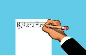componist muzieknoten tekening