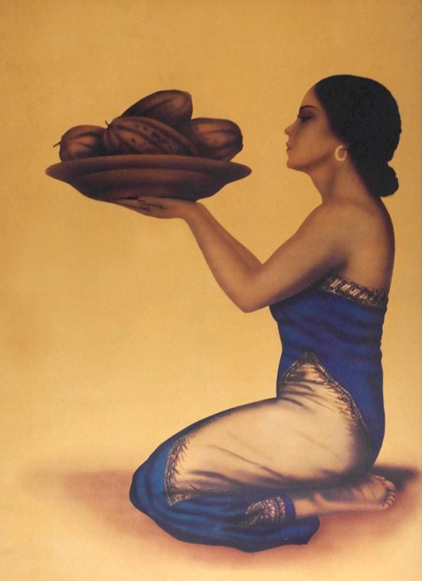 Tjoklat poster 1952 Javaanse dame ontwerper Berend Hoving