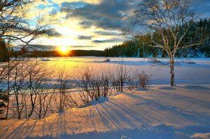 winter zonsondergang sneeuw ijs