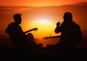 muziek gitaar zonsondergang
