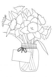 narcissen kleurplaat vaas lente bloem
