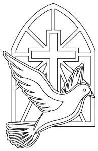 Kleurplaat duif kruis